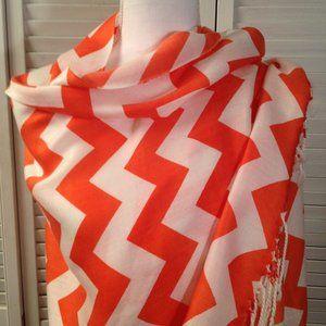 Pashmina Orange White Chevron Fringed Scarf